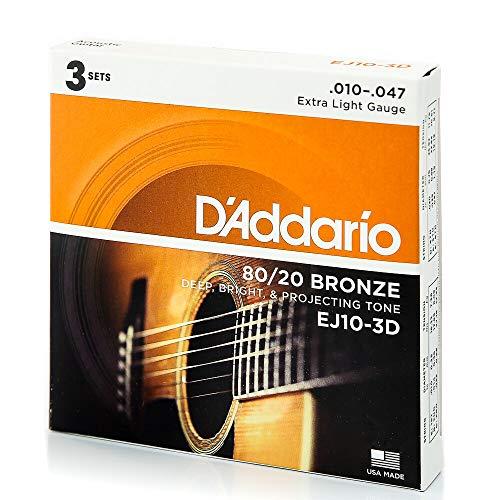 D'Addario EJ10-3D 80/20 Cuerdas para guitarra acústica de bronce, extra ligeras, 10-47, 3 juegos