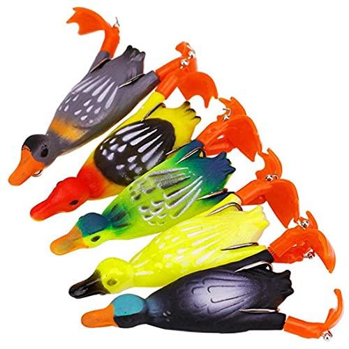 3D Topwater Duck Duckling 5pcs 3D Suicidio Suicidio Flotante Pato Pesca de Pesca Cebo con Ganchos Conjuntos Cebo Duro Bass Pesca señuelo