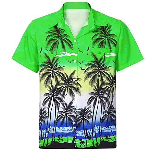 YEBIRAL Polos Manga Corta Hombre Manga Corta Básico Polo con Botones Camisa Hawaiana Hombre Camiseta Fruta Floral Estampado Formales Tops(L,B-Verde)