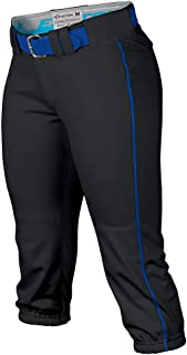 EASTON PRO Fastpitch Softball Pant | Womens | Small | Black / Royal Piped | 2020 | Sewn Down Set In Back Pockets | Pro Sty...