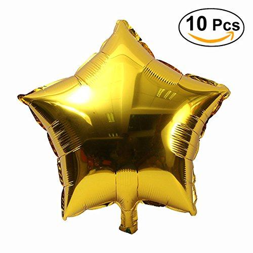 NUOLUX Stelle Balloon Party Mylar Palloncini Foil per la decorazione del partito, 18 inch,10pcs(Gold)