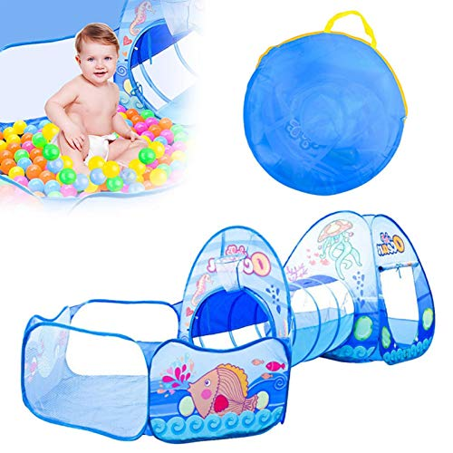 Misis 3-in-1Kids Play Tent ,Crawl Tunnel and Ball Pit Cartoon Pop up Playhouse Tent with Basketball Hoop Activity Gym OceanBallPool for Girls, Boys, Babies, and Toddlers with Carrying Case