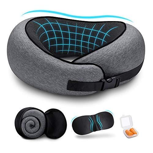 DYD Reisekissen 100% reines Memory Foam Nackenkissen - aufgerüstet ergonomisches Design 360 °Vollhals Kinnstütze, bequemer & atmungsaktiver Bezug, ultraweiches Reisekit mit 3D Augenmasken, Ohrstöpsel