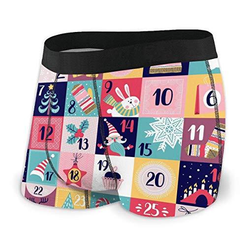 GLGFashion Calendrier de l'avent sous-vêtements pour Hommes Boxer Briefs Trunks Confortables S-XXL