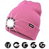 ATNKE LED Lighted Beanie Cap, USB Rechargeable Running Hat Ultra Bright 4 LED Waterproof Light Lamp and Flashing Alarm Headlamp Multi-Color/Rose