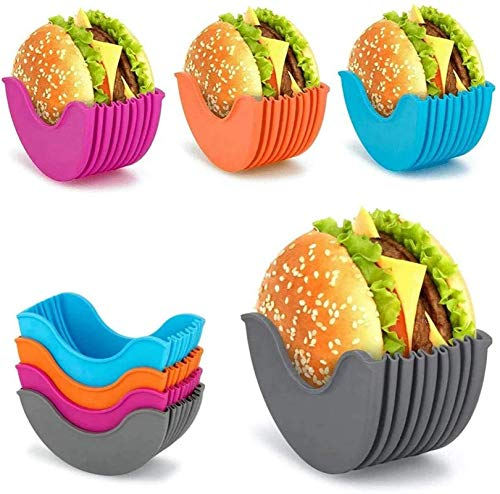 MRZJ Juego de 4 hamburguesas Buddy hamburguesas rígidas, soporte retráctil, soporte para hamburguesas reutilizable, higiénica caja para hamburguesas de silicona