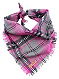 Pet Pooch Boutique sfilacciato Buffalo Plaid Bandana per Cani, Small/Medium, Rosa...