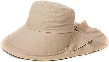 Khaki L Comhats Damen flatbarer Sonnenhut Sommerhut Stoffhut mit Nackenschutz UPF 50