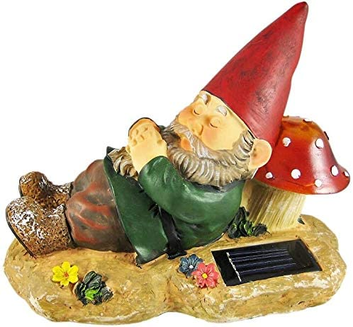 Discount mail order A-FFORDABLE Gnome Asleep Next 40% OFF Cheap Sale to Solar Powered LED The Mushroom