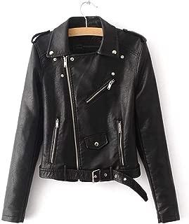 Womens Short Soft Leather Jacket Zipper Motorcycle Leisure PU Leather Jacket