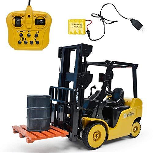 WGFGXQ Niños Juguete Vehículo de construcción Coche Control Remoto Coche eléctrico Carretilla elevadora Modelo RC Elevación de camión Tenedor Pala Elevador de Camiones Paletas Excavadora de camione