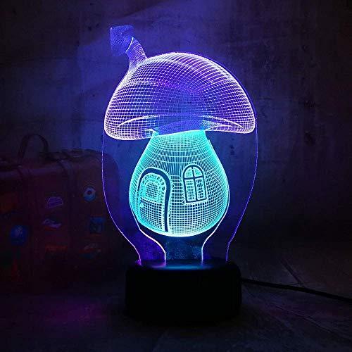 Led-nachtlampje in schimmelvorm, schattig 3D-nachtlampje voor slaapkamer, 7 kleuren, dimbaar, met touch-bediening, met afstandsbediening voor meisjes en jongens