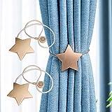 GSDJU Vorhang-Clips, Vorhang-Ringe, Raffhalter-Clips, Vorhangschnallen, 3 Paar Sterne, magnetische...