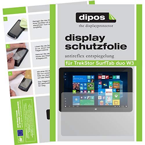 dipos I 2X Schutzfolie matt kompatibel mit TrekStor SurfTab Duo W3 Folie Bildschirmschutzfolie