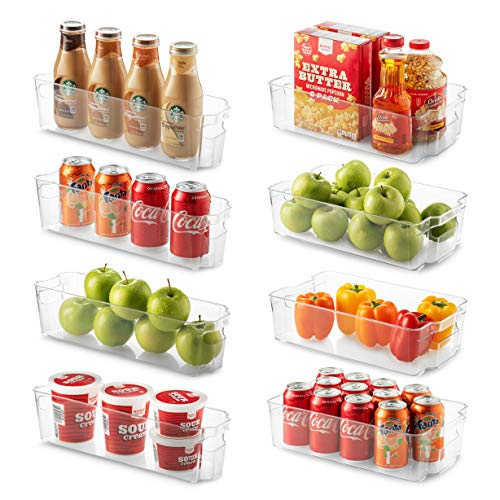 Set Of 8 Refrigerator Organizer Bins - 4 Wide and 4 Narrow Stackable Fridge Organizers for Freezer, Kitchen, Countertops, Cabinets - Clear Plastic Pantry Storage Rack