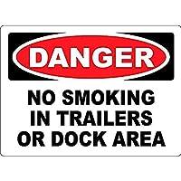 トレーラーまたはドックエリアでの禁煙 メタルポスタレトロなポスタ安全標識壁パネル ティンサイン注意看板壁掛けプレート警告サイン絵図ショップ食料品ショッピングモールパーキングバークラブカフェレストラントイレ公共の場ギフト
