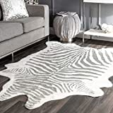 "nuLOOM Faux Zebra Shaped Rug, 5' x 6' 7"", Grey"
