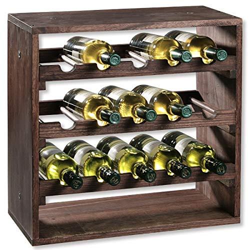 KESPER 4 Compartiment Système d'attaches pour Bouteille de vin, 50 x 25 x 50 cm, Marron