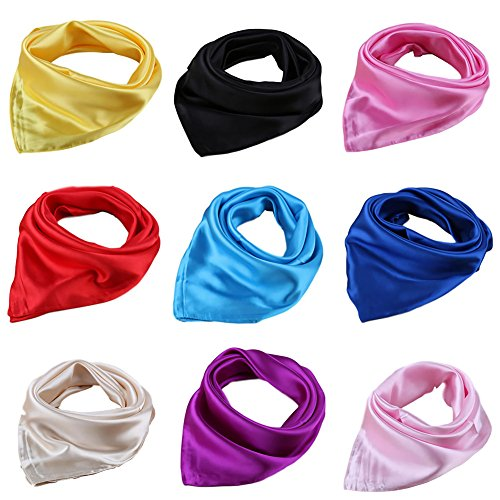 BOWKITE Women Satin Square Scarf 4/9 Pack Wrap Silk Feel Solid Hair Scarf Accessory 23' 9 Colors-2