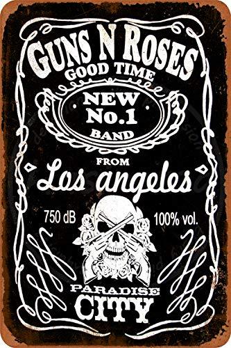 N/ A Guns N Roses Wanddekor Metallplakat gemalt Retro Eisen Zinn Wandschilder Dekoration Plakette Warnung für Bar Kaffee Hotel Büro Schlafzimmer Karneval