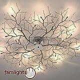 famlights Deckenleuchte Äste Metall, Chrom, 15-Flammig | Deckenlicht Astleuchte Schlafzimmer-Lampe...