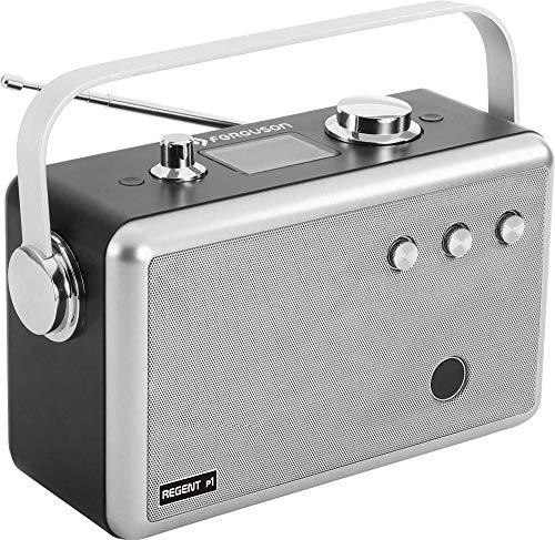 Ferguson Regent P1 Tragbares Radio DAB, DAB+ & UKW | AUX, USB, Bluetooth, Kopfhörerausgang 3,5 mm | Digitale Wecker mit Schlaf- und Snooze-Funktionen | Bis zu 12 Stunden Akkulaufzeit | Silber