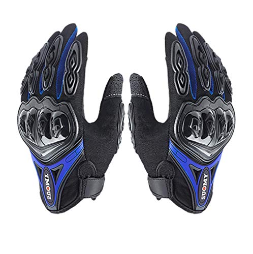 XGG Motorbike Gloves Leather Protection All Season Motorcycle Racing Glove (Color : Blue, Size : L)