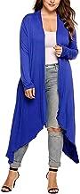 Women's Plus Size Tops Long Sleeve Waterfall Drape Open Long Maxi Cardigan