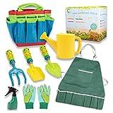 Qwing Set di attrezzi da giardinaggio per bambini, kit di attrezzi da giardinaggio per bambini, guanti da giardinaggio, flacone spray, grembiuli, pala e borsa per regali da giardinaggio