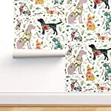 Spoonflower Peel and Stick Removable Wallpaper, Dogs Puppies Animals Watercolor Floral Baby Girls Print, Self-Adhesive Wallpaper 12in x 24in Test Swatch