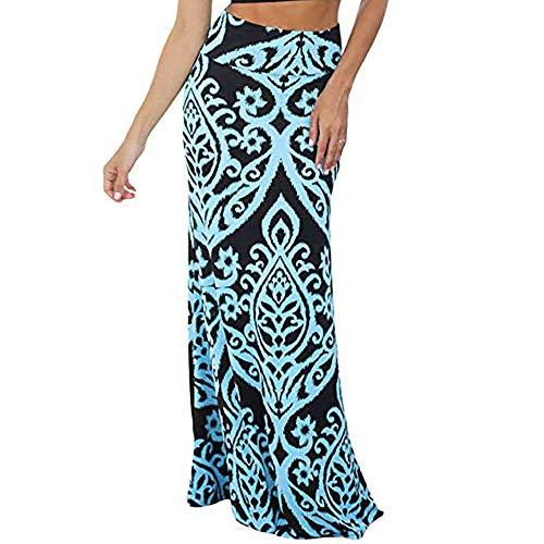 Women Maxi Skirt Vintage Coral Print High Waist Skirt Casual Long Skirt Maxi Skirt Elegant Elastic Waist Dress Blue