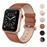 SWEES Leather Band Compatible for iWatch 38mm 40mm, Genuine Leather Replacement Strap Rose Gold Buckle Compatible iWatch Series 5 4 3 2 1, Sports & Edition Women Classic Brown