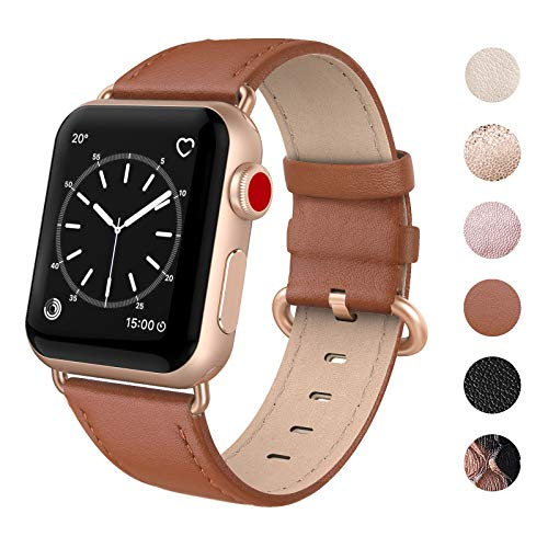 SWEES Compatible for Apple Watch Band 38mm 40mm, Genuine Leather Soft Elegant Strap Compatible iWatch Apple Watch Series 5 Series 4 Series 3 Series 2 Series 1, Sports & Edition Women, Classic Brown