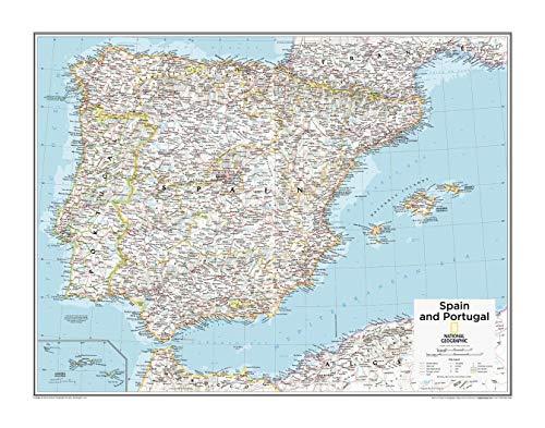 National Geographic - Mapa de pared de España y Portugal de 71,1 x 55,9 cm, papel enrollado