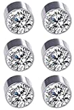 Solidindia Craft Set of 3 Pair Silver Crystal Magnetic Non Pierced ears Stud