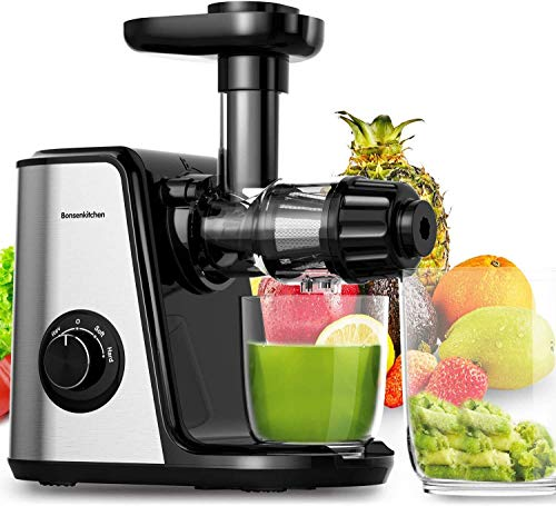 Masticating Juicer Machines, Bonsenkitchen Cold Press Juicer for Fruit & Vegetable, Easy to Clean, BPA Free, Quiet Motor & Reverse Function, High Nutrition Reserve, Juice Extractor for Celery, Kale, Carrot (Grey)