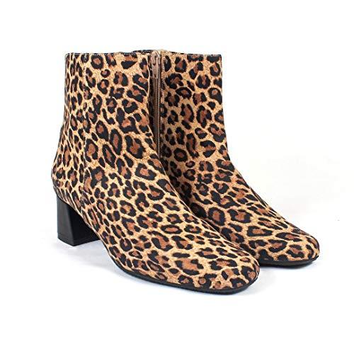HISITO - Botas en Leopardo Piel de Ante para Mujer - Cierre Cremallera - Tacon Ancho Medio 5 cm - Forro Piel -...