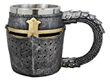 Ebros Medieval Renaissance Crusader Knight Of The Cross Suit of Armor Helm Drinkware Serveware With Sculpted Chainmail Handle Stem Middle Ages Warrior Crusade War Decor (Drinking Mug Cup)