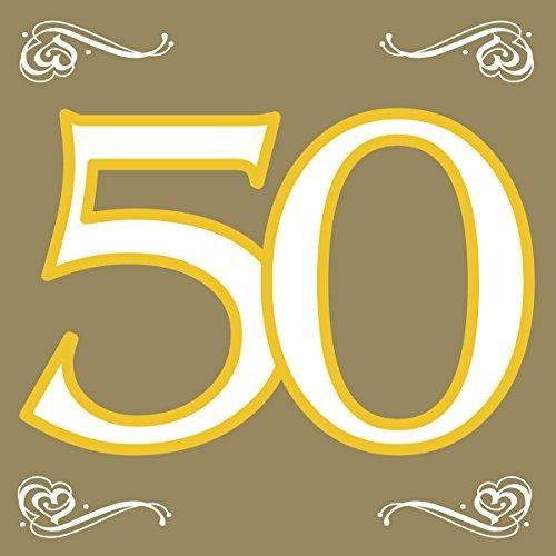 Folat Tovaglioli 50 ° Compleanno/Anniversario Oro 33x33 cm-20 pezzi, 07761
