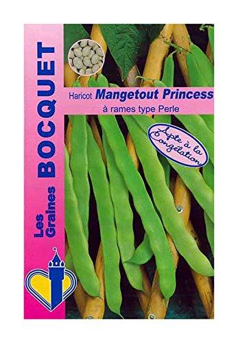 Les Graines Bocquet - Graines De Haricot À Rames Princess Type Perle - 100G - Graines Potagères À Semer - Sachet De 100Grammes