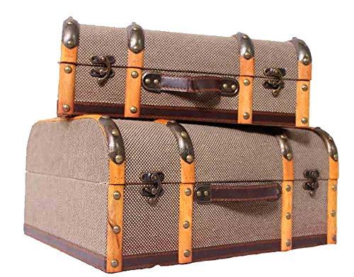 Koffer Set 2 teilig/Dekokoffer/Minibar/Kinderkoffer/Holzkoffer/Set 2 Retro Oldtimerkoffer Koffer Holzleisten Kinderkoffer/Set 2 Jute Wooden Suitcase