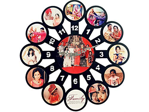 PrintMe Personalized/Customized Wall Clock with Photos, Design or Text of your choice WC102 (45x45 CM / 18x18 Inch), Material - Wood MDF, Multicolour. Style - Photo Clock Big Size. Designed by Mind, Made by heart
