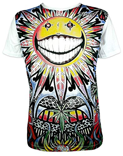 Mirror Herren T-Shirt - Die Psychedelische Sonne Hanfblatt Cannabisblatt Kunst Yoga Zen Surfer Skater THC Männer Freizeit Kurzarm (Weiß L)