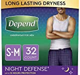 Depend Night Defense Incontinence Underwear for Men, Overnight, Disposable, Small/Medium,...