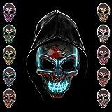 KiraKira Máscara LED Halloween, Halloween LED Máscaras Adultos LED Mask para la Fiesta de Disfraces, Máscara Disfraz Luminosa Craneo Esqueleto (Blue)