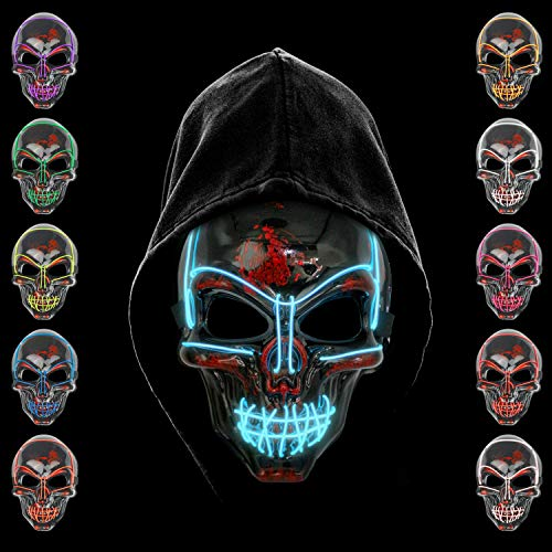 KiraKira Mscara LED Halloween, Halloween LED Mscaras Adultos LED Mask para la Fiesta de Disfraces, Mscara Disfraz Luminosa Craneo Esqueleto (Blue)