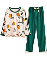 ルームウェア レディース パジャマ 綿 Unifizz Tシャツ パンツ 上下セット 春夏秋冬 女の子 女性 長袖 薄手 丸首 柔らか ソフト 吸汗 通気 可愛い 上品 ネグリジェ 部屋着 寝間着 プレゼント 学生 母 Pyjamas for Women