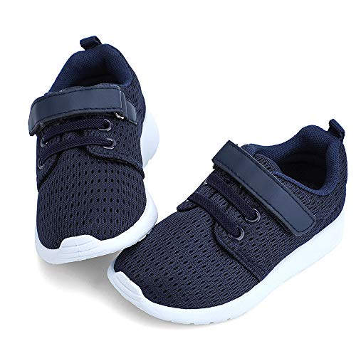 hiitave Toddler Boys Shoes Breathable Trail Running Sneakers Lightweight Tennis Shoes Navy/White 7 M US Toddler