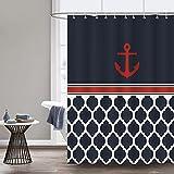 Bonhause Duschvorhang 180 x 180 cm Nautische Anker Geometrische Marineblau Duschvorhänge Anti-Schimmel Wasserdicht Polyester Stoff Waschbar Bad Vorhang für Badzimmer mit 12 Duschvorhangringen