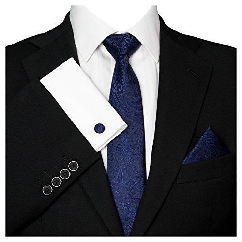 GASSANI GASSANI Herrenkrawatte Schmal Paisley-Muster, Dunkel-Blaue Hochzeitskrawatte Gemustert, Einstecktuch Manschettenknöpfe Z. Hochzeits-Anzug Sakko